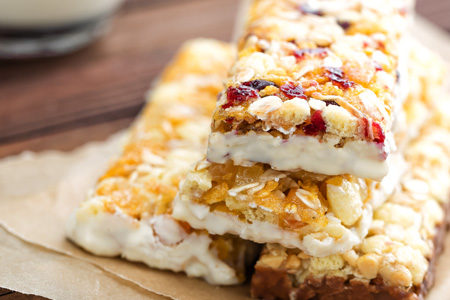 Nutrition granola bars with cranberries, oats, and yogurt